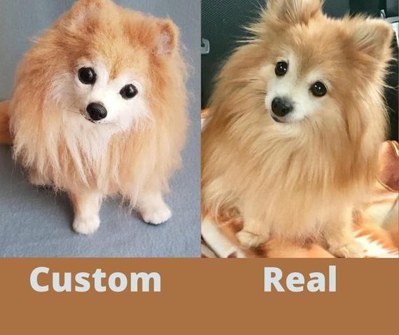 Animal Replica Needle Felted Custom Clone Sculpture Plush Toy Dog Realistic Pet Pomeranian In 2020 Custom Dog Plush Pet Replica Pets