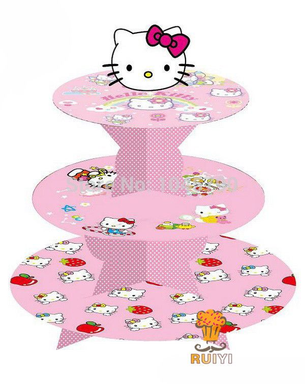 Free Shipping 1 X Cartoon Hello Kitty Cupcake Holder Birthday Baby Shower Party Cardboard Cupcake Stand Hold 24 Cupcakes