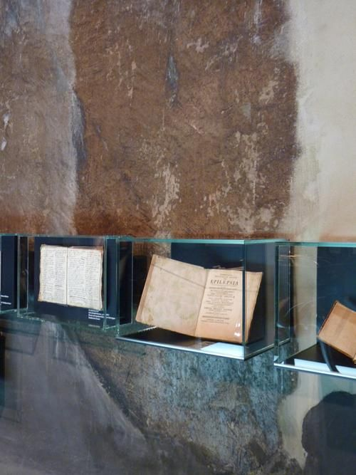Book and manuscript display cases, modern style with ancient surroundings and content. Ruhr Museum Essen HG Merz Kohlenwäsche