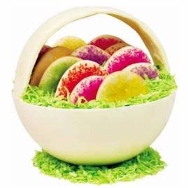 All in One Basket Cookies - White Chocolate basket with sugar coated cookies and green coconut!