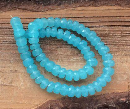 Для украшений ручной работы. Ярмарка Мастеров - ручная работа. Купить Аква халцедон голубой 2 размера рондель огранка бусины камни. Handmade.