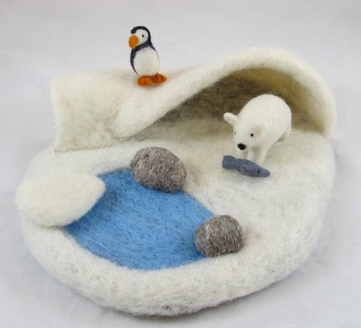 Felted Wool Arctic Play Mat || Penguin and polar Bear!