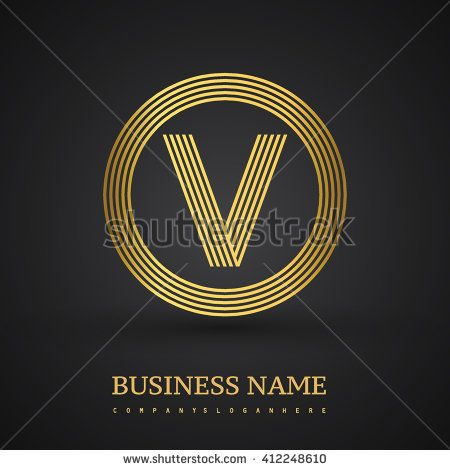 Elegant gold letter symbol. Letter V logo design. Vector logo design template elements  for company identity. - stock vector