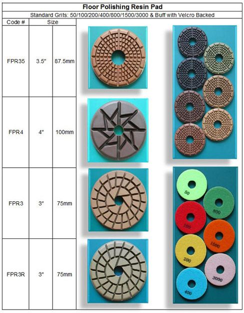 "Floor Polishing Pad 3"", 3.5"" & 4"" : Diamond Floor Restoration Polishing Pad designed for portable floor polishing machines to restore and maintain marble or granite floors. Ideal for the stone floor polishing before glazing and after removing slippage. Featuring heavy-duty resin with high quality diamond powder RM Tech Korea (StoneTools Korea®) email: sales@stonetools.co.kr  www.stonetools.co.kr http://stonetools.gobizkorea.com"