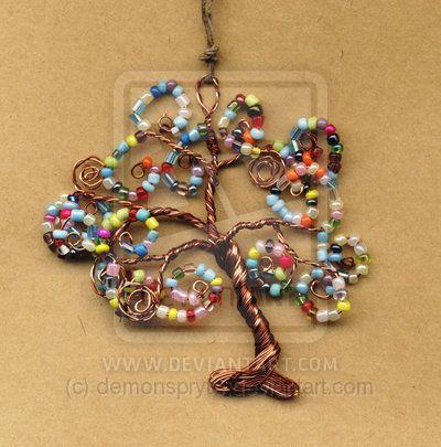 Tree of Life Glass Bead Brooch Lapel Pin Badge Handmade Arts and Craft, Victorian