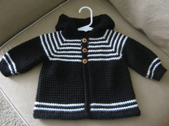 Crochet Baby Boy Sweater with Hood  Black by ForBabyCreations,