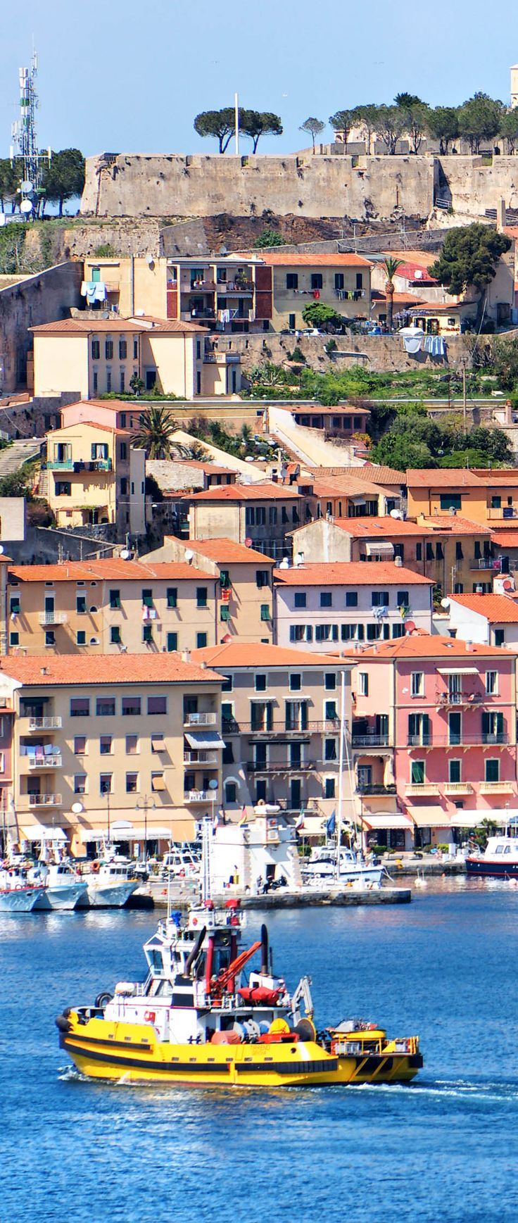 View of Portoferraio old city, with the Forte Stella and the Napoleon Villa. Isle of Elba, Livorno, Italy.   45 Reasons why Italy is One of the most Visited Countries in the World