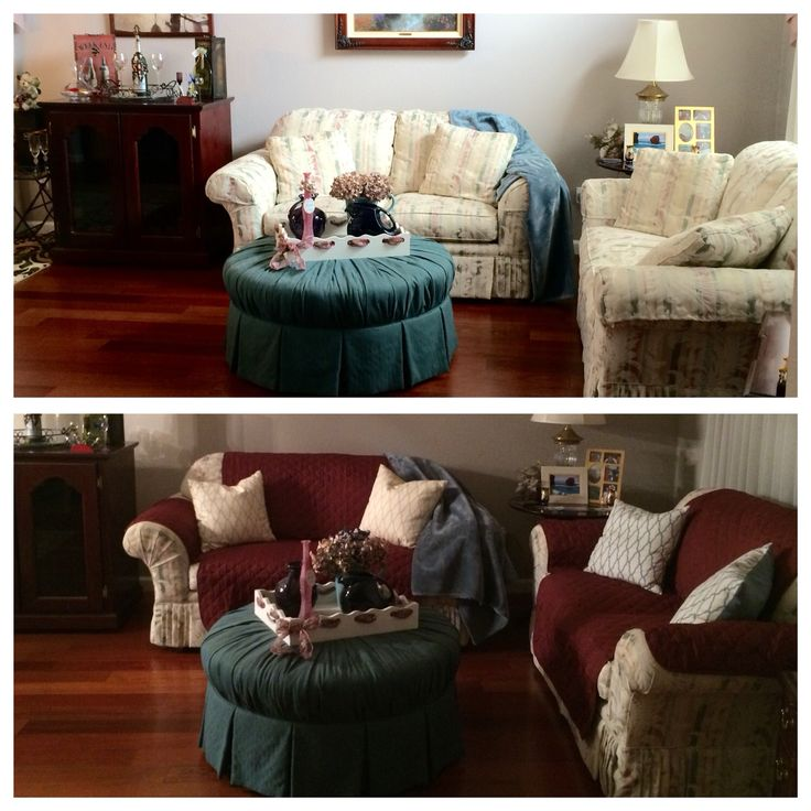 When the old floral couch is getting dirty and outdated, put on pet protectors and some new pillows and create a brand new look.