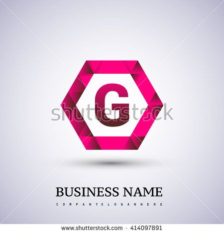 G Letter logo icon design template elements on red hexagonal. - stock vector