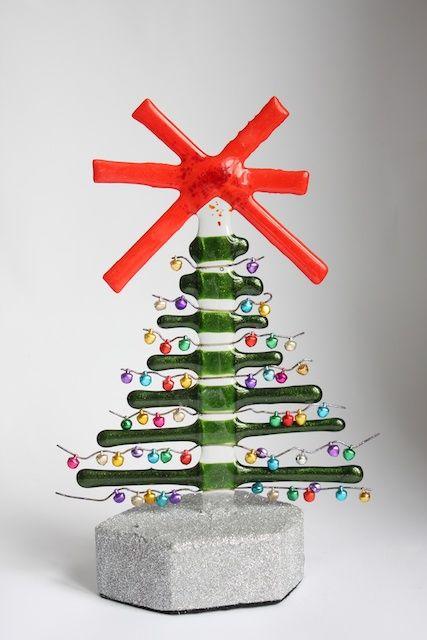 Jingle Tree by Molten Wonky. Fused Glass. Love it.