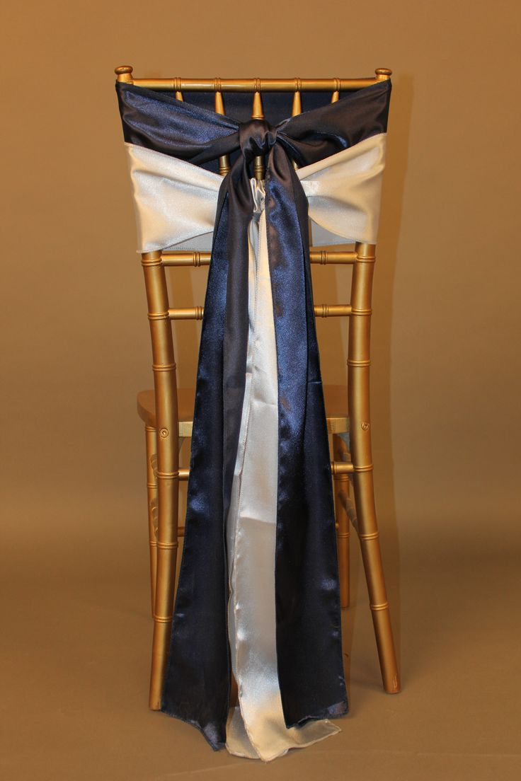 Combining Chair Cover Sashes: Two Sashes can be Better Than One! (Navy Blue and Silver Satin Sashes)