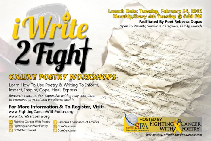 The Sarcoma Foundation of America is pleased to be partnering with Fighting Cancer With Poetry to deliver unique online poetry workshops. SFA is always looking for innovative methods to disseminate relevant information and resources to patients, family members, and medical professionals.  Research indicates that expressive writing may contribute to improved physical and emotional health. The purpose of the online workshops is to assist participants with learning how to use poetry and writing…