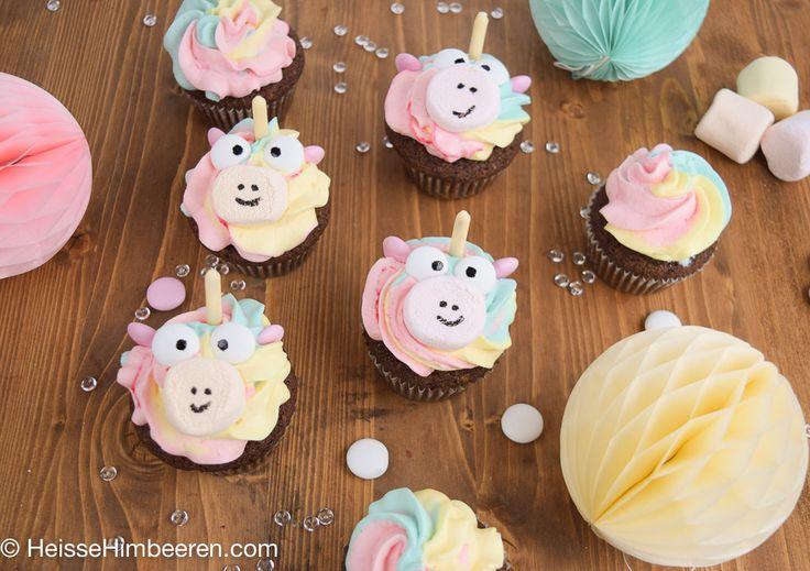 Regenbogen Einhorn Cupcakes | Heisse Himbeeren
