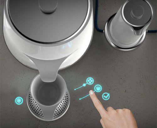 futuristic, coffe, Studio Mem, ceramic, gadget, Coffeepot, tech, device, Mem-Coffee, laser projected multi-touch interface, future kitchen