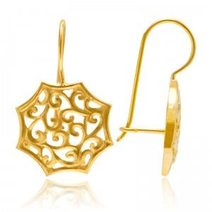 Octagon Star Vintage Earrings - MettaGems | Natural Gemstone Jewelry, Direct from manufacturers  18K Solid Gold
