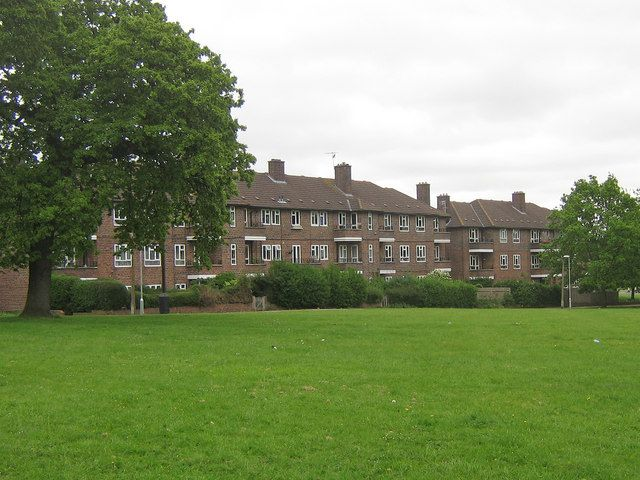 Nailsworth Crescent  The rear of 1950s housing in Nailsworth Crescent, viewed from by the junction of Portland Drive with Bletchingley Road. 2009