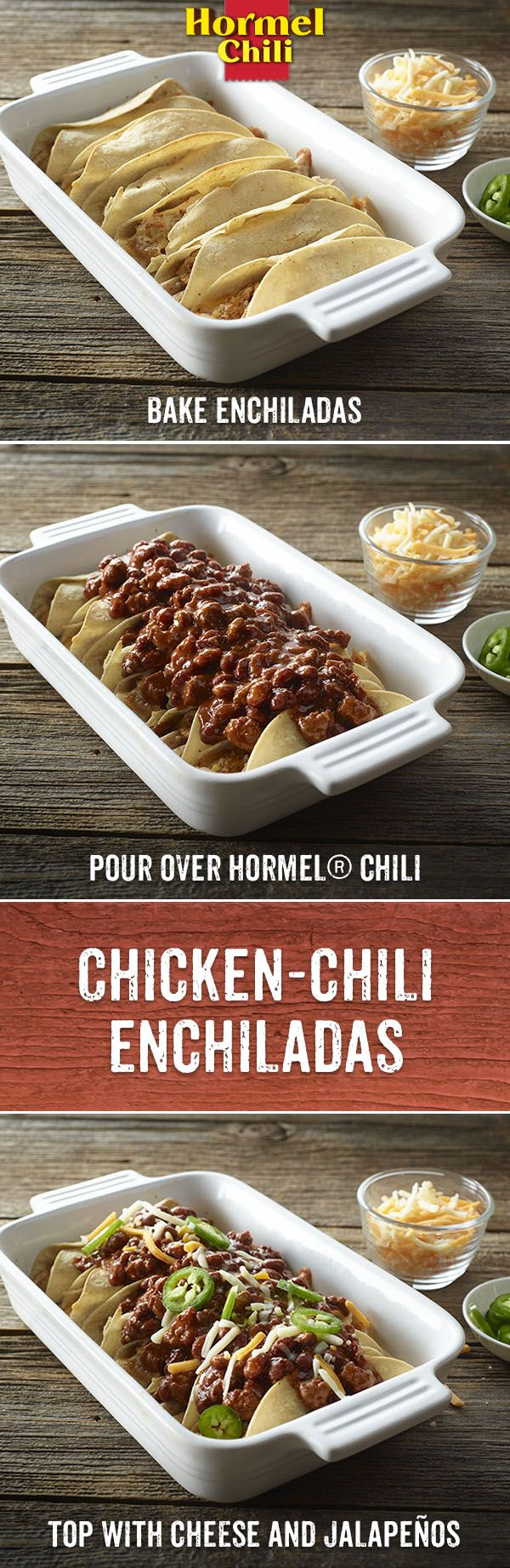 In Chili Nation we make an enchilada an enchililada by pouring chili on top. Give it a try. You'll be glad you did.  | HORMEL® Chili Recipe | Chili Nation | Chili Enchilada | Dinner | Lunch | Easy Meals | Quick and Easy Recipes | Mexican | Tex Mex