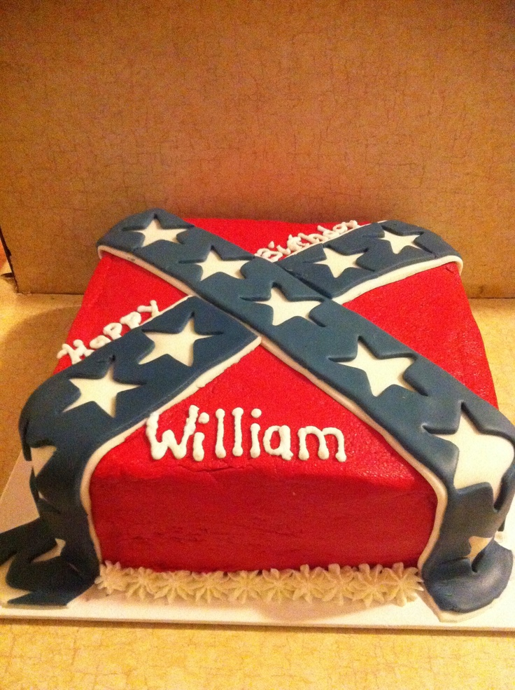 Rebel Flag Cake - white cake red buttercream, fondant stripes