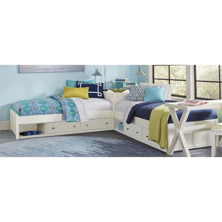 Lowest price online on all NE Kids Pulse Twin L Shaped Storage Bed in White - 33051N2S