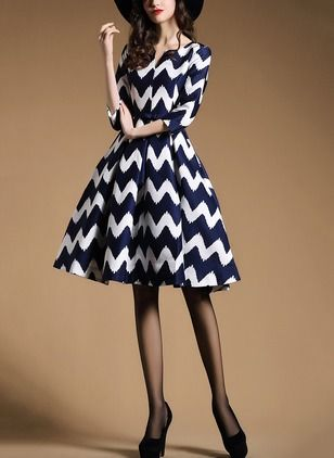 As Picture Polyester Color Block 3/4 Sleeves Knee-Length Dresses