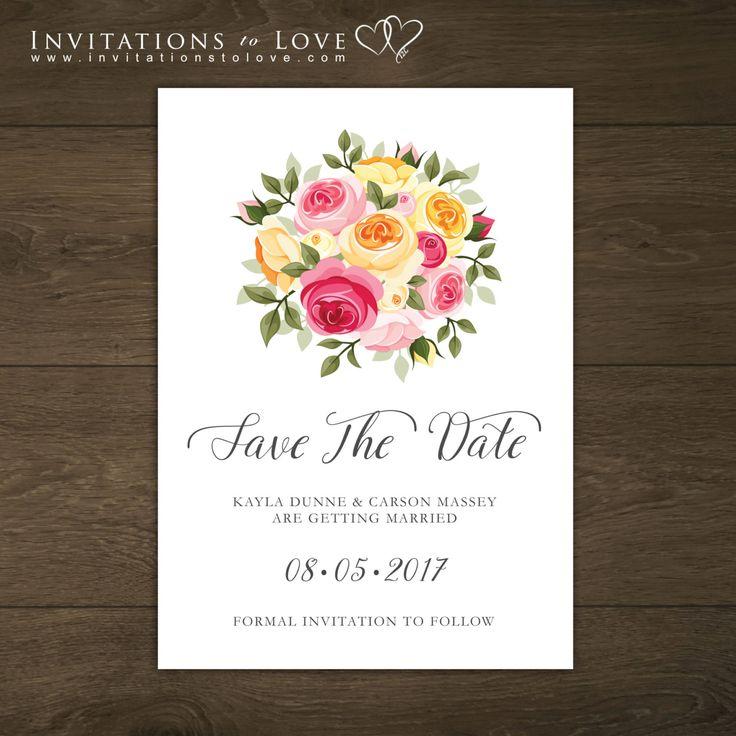 Printable Save the Date, Custom Digital Save the Date, Wedding Invitation - Floral, Recycled Look, Modern Style – Loyalty Collection by InvitationsToLove on Etsy