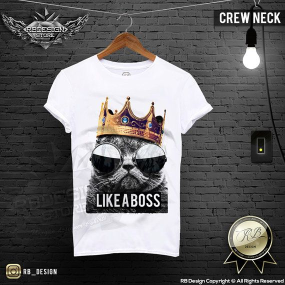 Men's Funny Cat T-shirt  Like a Boss Slogan Bad Kitty Gold Golden Crown RB Design Shirt Tank Top MD464