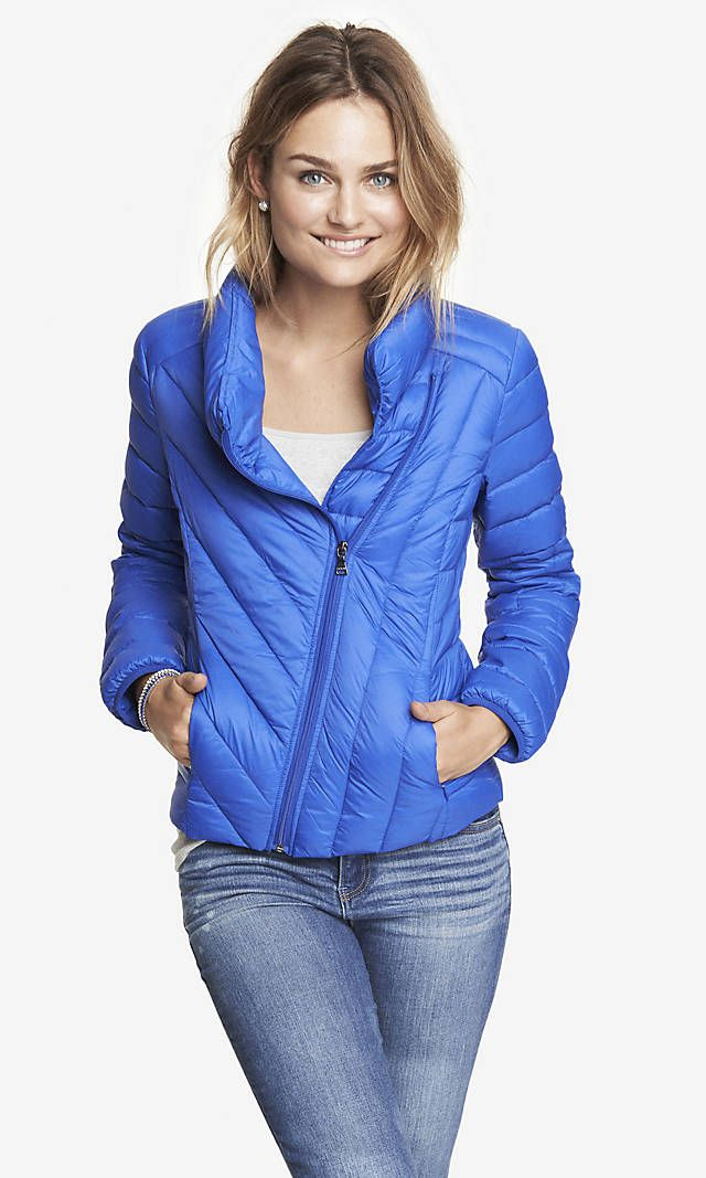 Love the diagonal seams and neckline on this - so included it PACKABLE DOWN FILLED PUFFER JACKET | Express