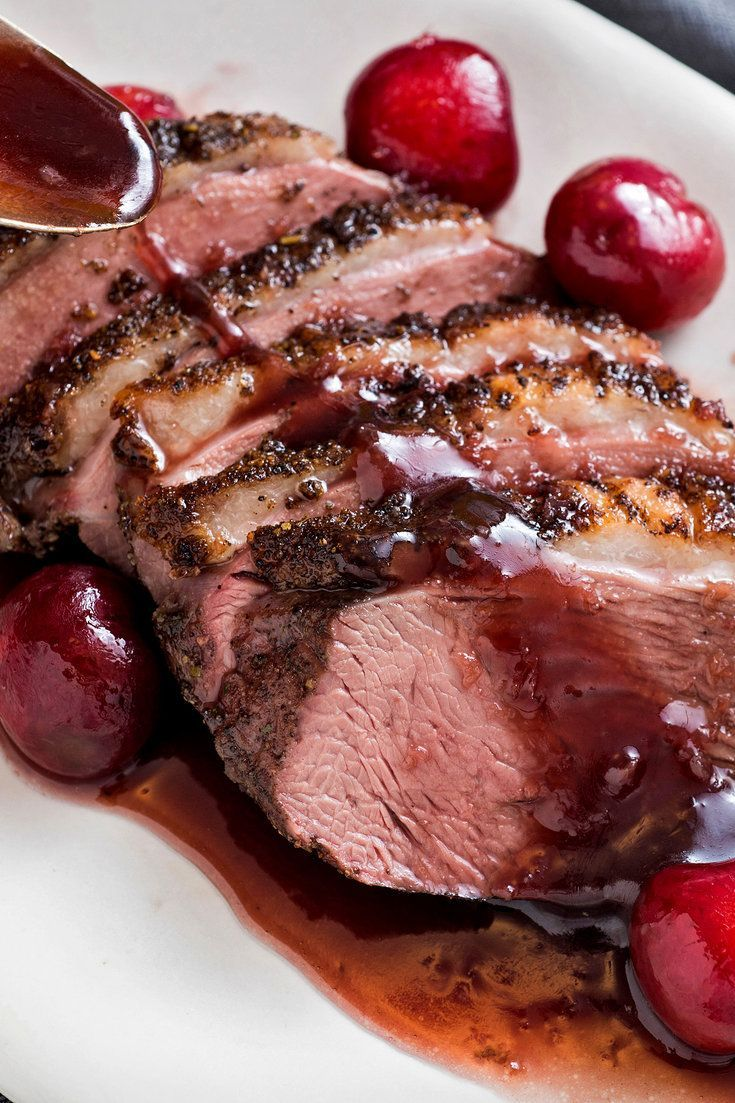 Classic French duck dishes, like Caneton aux Cérises (roast duckling with cherries) are for the most part considered too formal or just old-fashioned, relics from a bygone era An updated version, however, can have great appeal This interpretation uses a pan-roasted large Muscovy duck breast instead of a whole bird, as easy to cook as a steak
