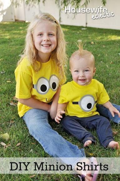 Housewife Eclectic: DIY Minion Shirts & Gift. Tutorial includes template download and information on how to layer heat transfer. #SendSmiles #Ad