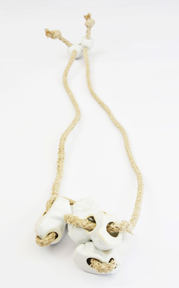 Velislava Bozhinova Necklace: Adaptation, 2014 porcelain, hemp rope KASKA alumni
