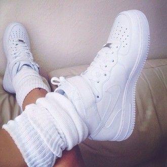 shoes leg warmers white nike nike air force 1 all white everything white nikes…