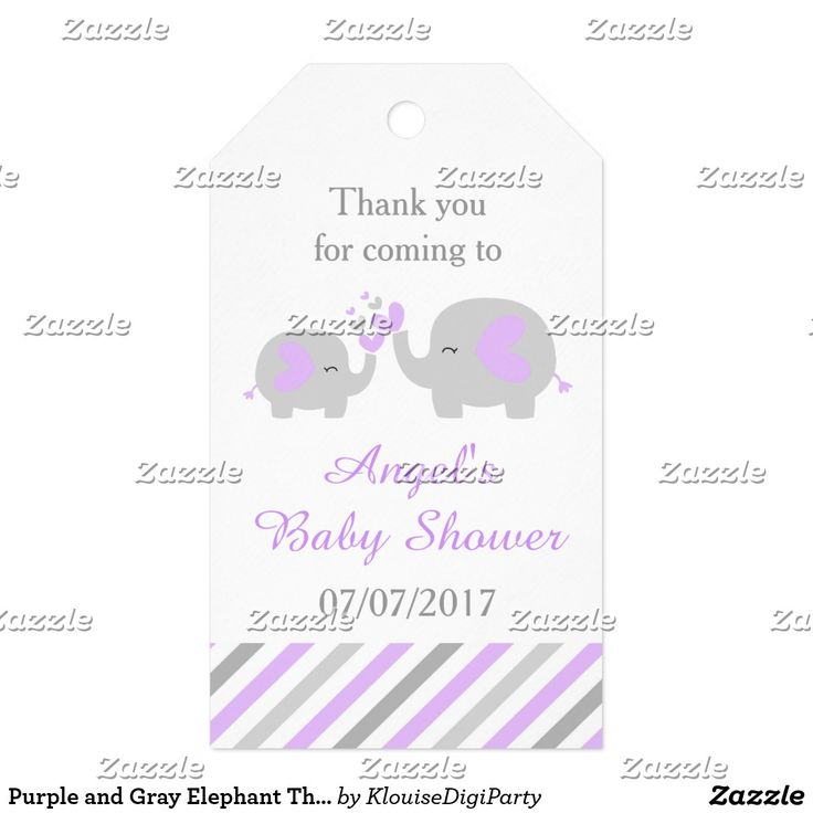 Purple and Gray Elephant Thank You Baby Shower Gift Tags