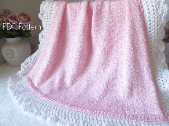 Knitting PATTERN 71  Royal  Blue and White Baby Blanket