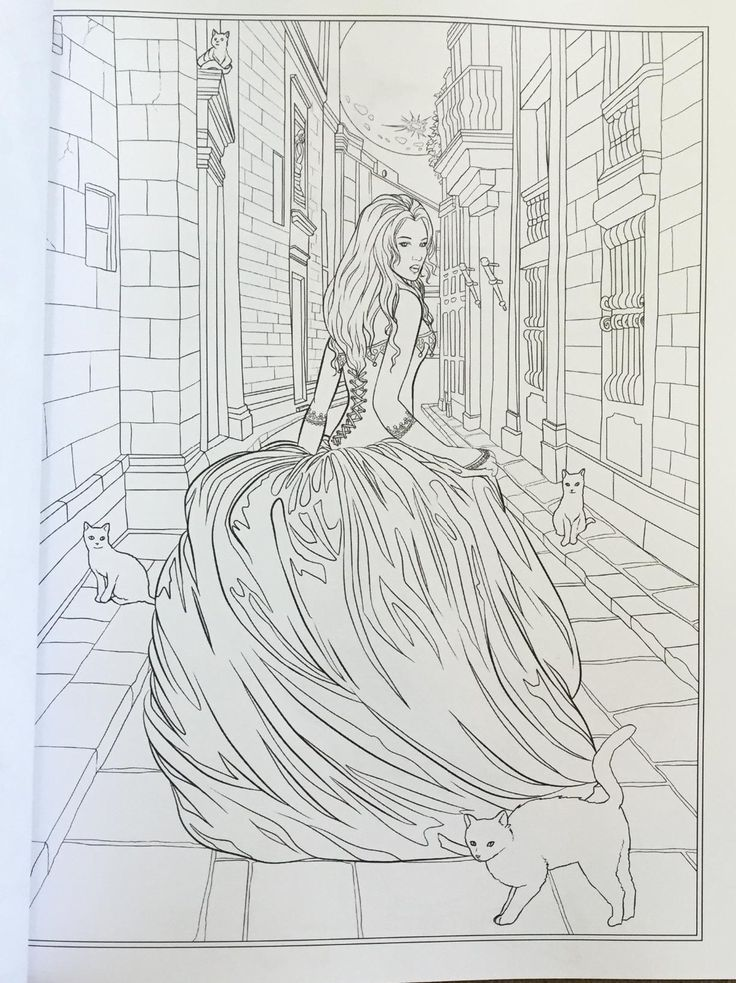 Kids Colouring Coloring Books Adult Dark Fantasy Art Colour Book Stenciling Stress Work