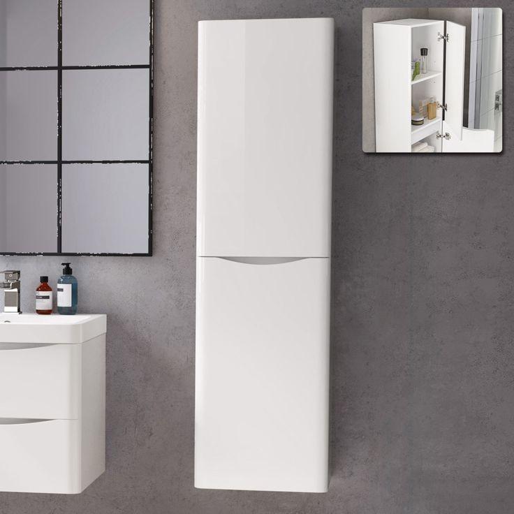 White Gloss Tall Bathroom Cabinet 1400mm Tall Storage Bathroom Tall Cabinet Bathroom Wall Cabinets Kids Bathroom Storage
