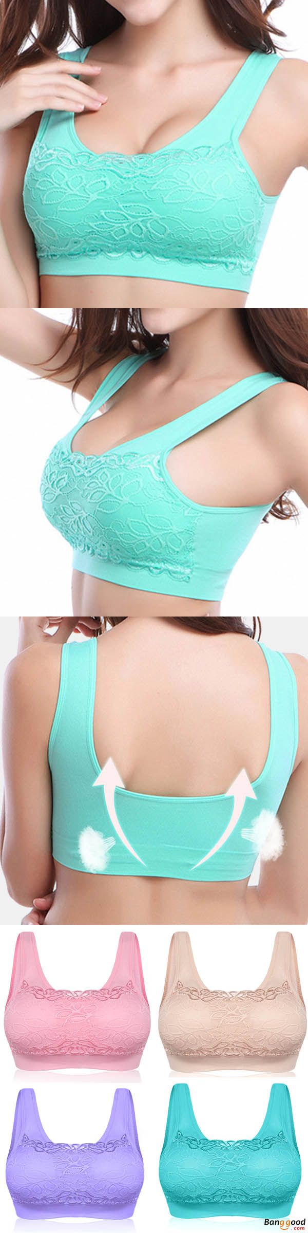 US$8.66 + Free shipping. Women Seamless Wireless Gather Soft Lace Jacquard Yoga Sleeping Vest Tops Bra. Colors: Black, Pink, Nude, Purple, Green, White. Size: M,L,XL,2XL. Color your summer, shop now!