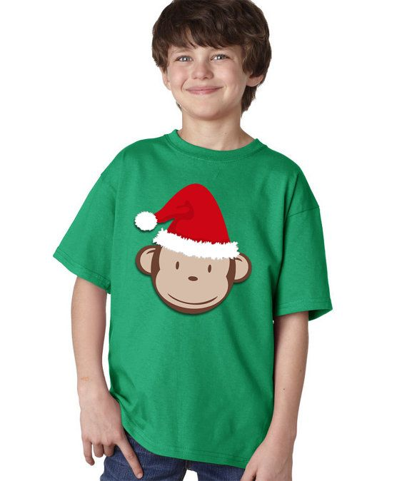 Personalized Christmas Mod Monkey Fun Funny Tshirt Birthday Party T shirt Lots of Colors - Party Event Infant through Teen