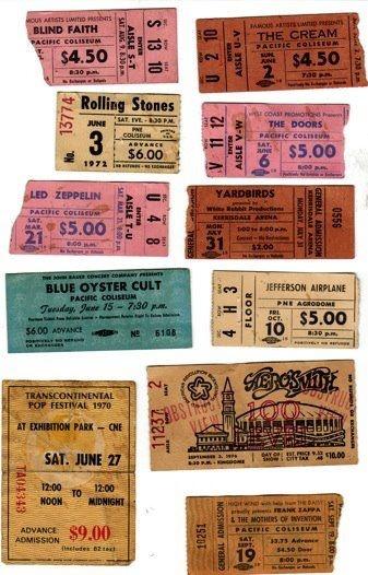 Eating vintage concert ticket stubs ass black