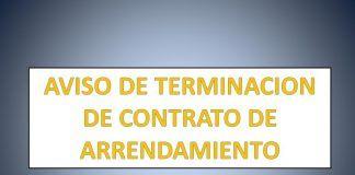 AVISO DE TERMINACION DE CONTRATO DE ARRENDAMIENTO