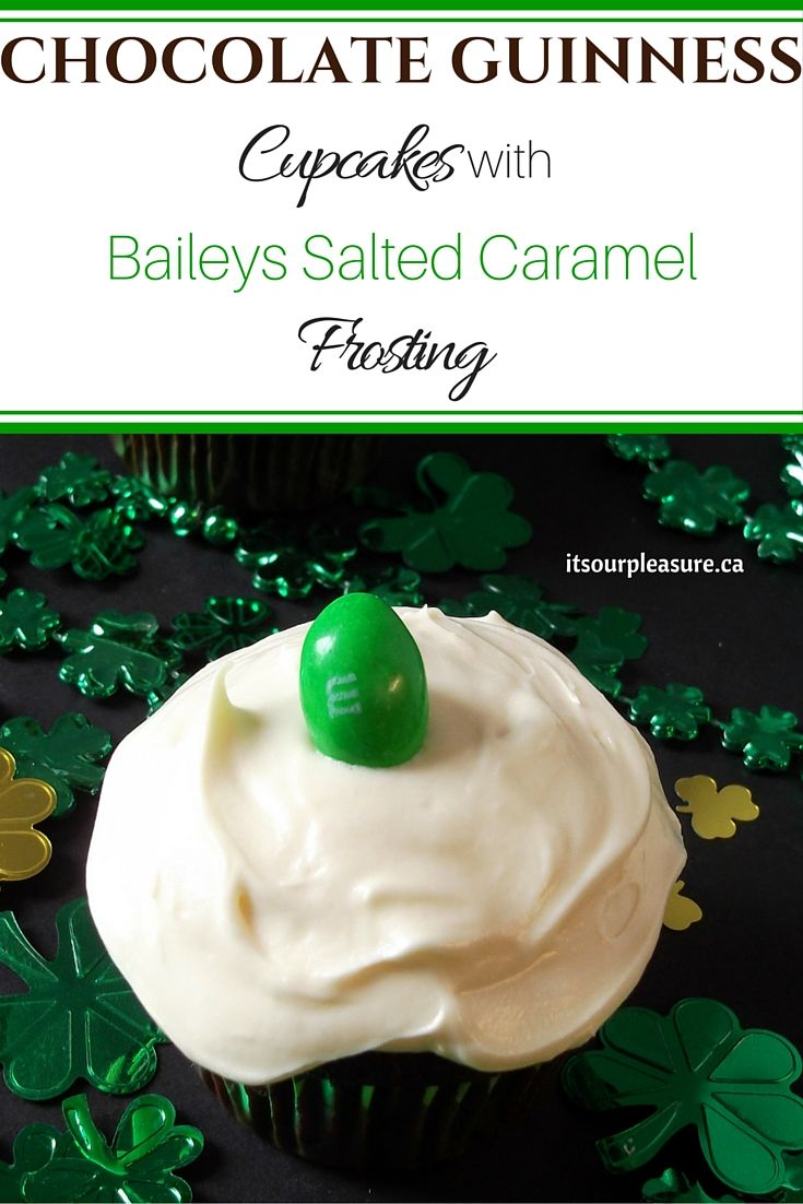 These cupcakes are in honour of St. Patrick's Day! The cake batter incorporates the rich stout and I was lucky to find Bailey's Salted Caramel to add to the cream cheese frosting which just takes it to another level.