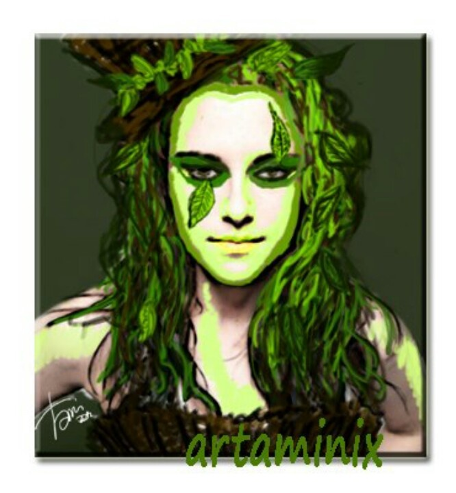 Kristen Stewart #green #clown #fairy #leaves #natura #portrait #ritratto #foglie #film #famous #breaking_dawn #paint #handmade