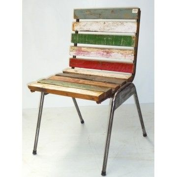 Dining chair Metal with Boat Wood Slats