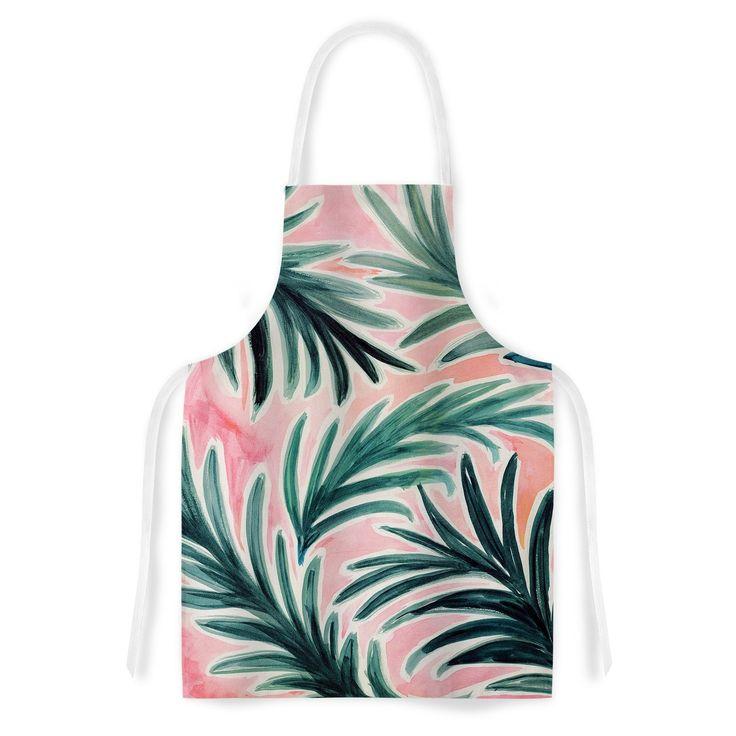 Kess InHouse Crystal Walen 'Lush Palm Leaves' Green Pink Artistic Apron