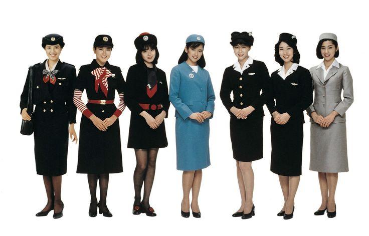 Japan Airlines' retro lineup, designed by, from right to left: 1951-54 Minoru Kadota; 1954-60 and 1960-67 Mohei Ito; 1967-70, 1970-77and 1977-87 Hanae Mori; and 1988-96 Shigenobu Motoi.