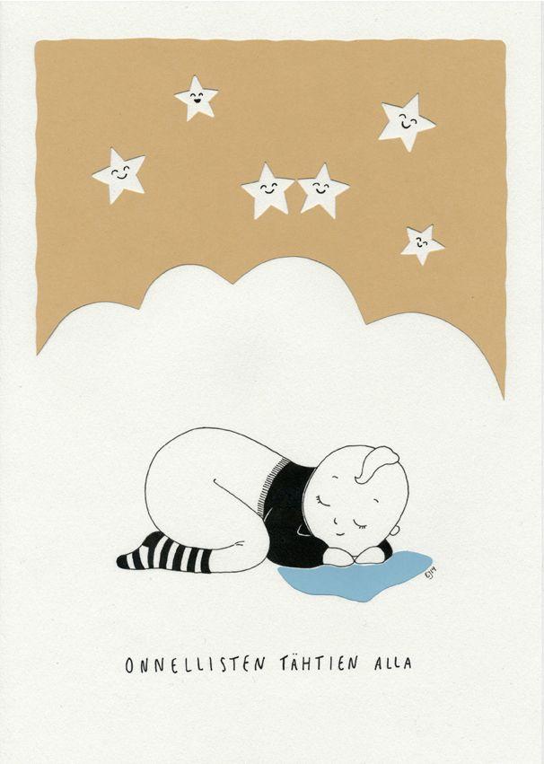 Onnellisten tähtien alla. Mantelinan A4-printti. Alkuperäinen kuva: Elina Jasu / Under the lucky stars. Art print made by Elina Jasu for Mantelina