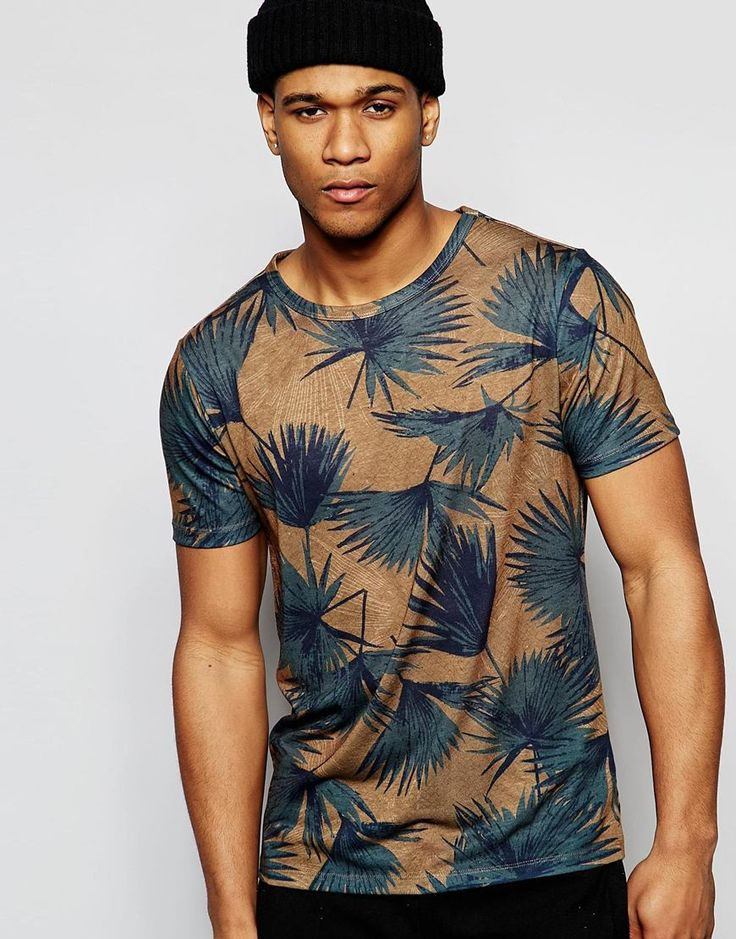 Image 1 of River Island T-Shirt In Rust With Palm Print