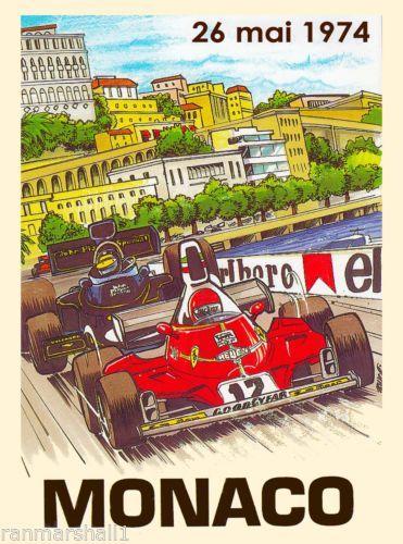 1974-Monaco-Grand-Prix-Automobile-Race-Car-Advertisement-Vintage-Poster