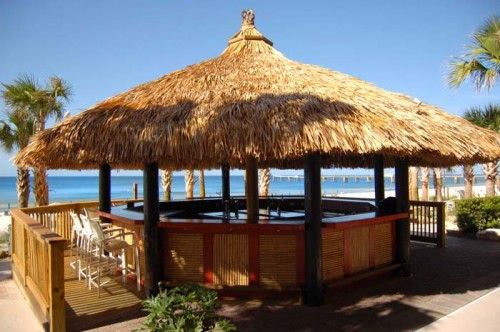 Tiki bar look to disguise above ground hot tub | Swimming ...