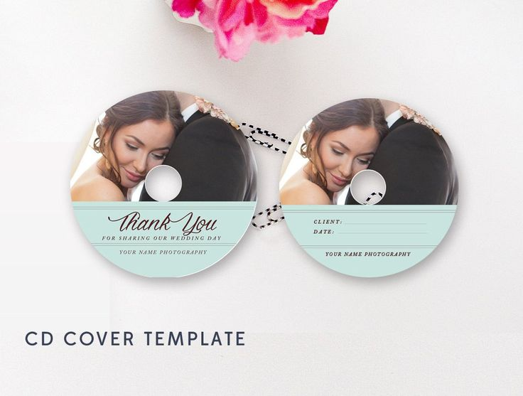 Modern Wedding CD Cover Template - CD Label Template - Photoshop PSD Template