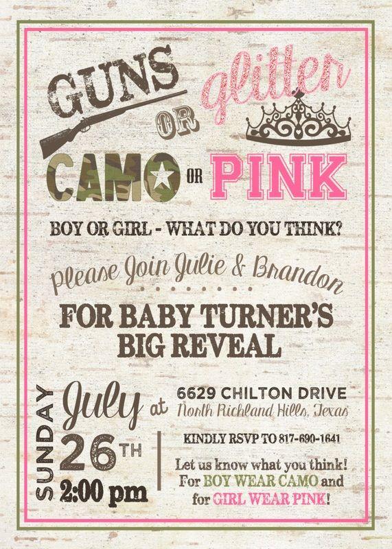 gender reveal invitation guns or glitter gender reveal camo or